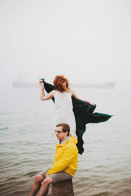 Cold Weather Foggy Beach Couples Portraits