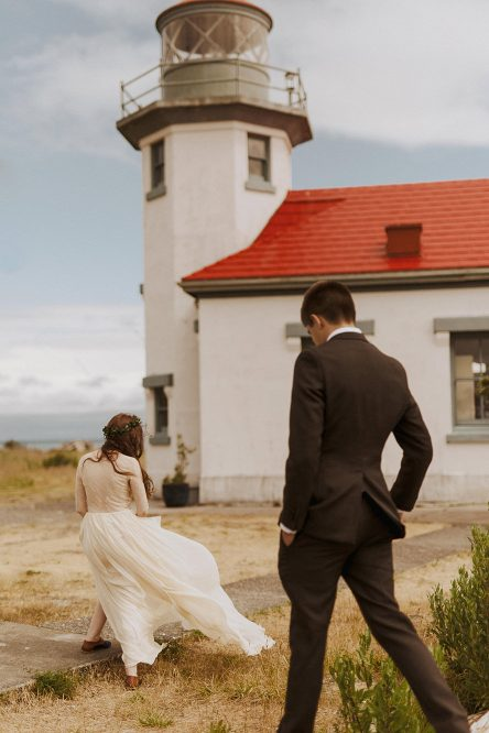 Lighthouse Vashon Island Elopement Photographer – Seattle Forest Wedding